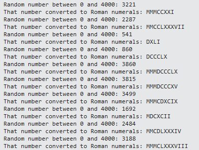A screenshot of random Roman numerals being generated.