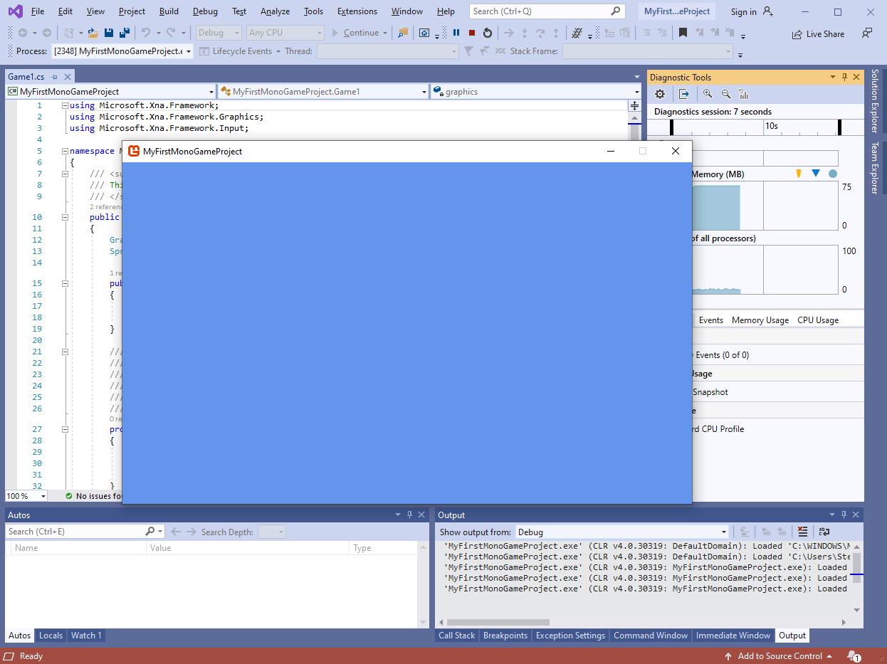 A screenshot of Game1.cs.