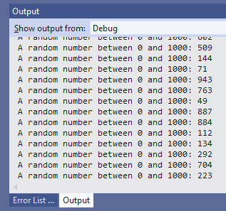 A screenshot of random numbers being generated.