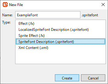 A screenshot of creating a font in the MonoGame Pipeline Tool.