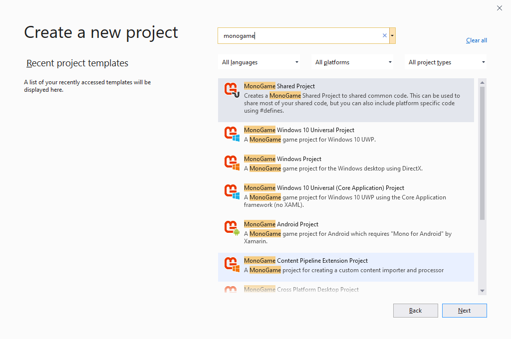 A screenshot of Visual Studio 2019.