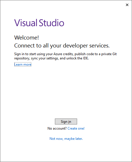 The Visual Studio installer prompt to sign in.