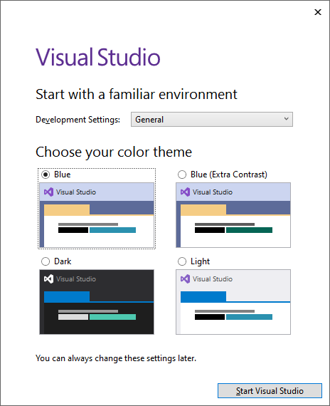 The Visual Studio installer prompt to change settings.
